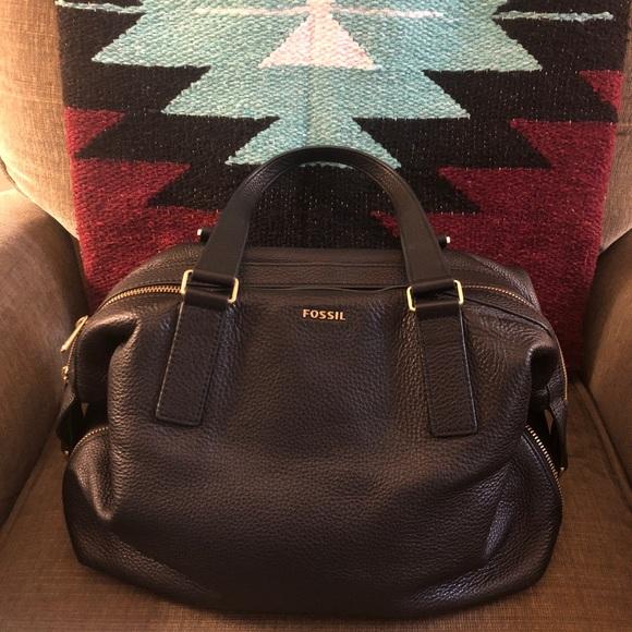 16eae80da Fossil Handbags - Fossil Preston purse black leather satchel dustbag